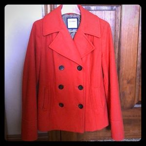 Old Navy orange rust pea coat pumpkin fall Medium